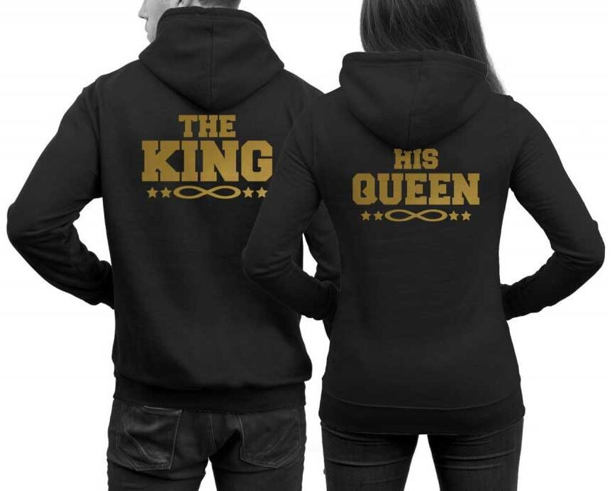 Μπλούζα φούτερ Hoodie The King and His Queen hoodies with infinity signs in SET couples sweater pair hoodies King Queen