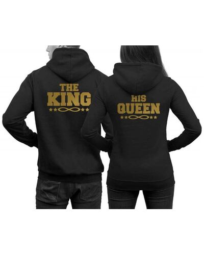 Μπλούζα φούτερ Hoodie The King and His Queen hoodies with infinity signs in SET couples sweater pair hoodies King Queen