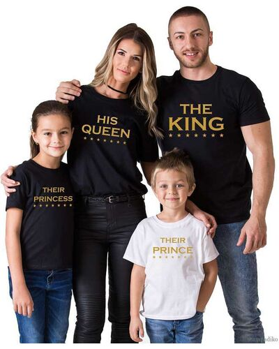 Μπλούζες για οικογένεια  με στάμπα The King His Queen Their Prince Their Princess Matching Family Shirts