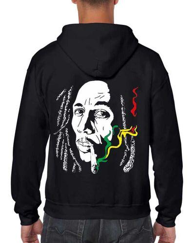 Μπλούζα με μεταξοτυπία σε μαύρο φούτερ με κουκούλα Bob Marley Rasta Cannabis Smoke