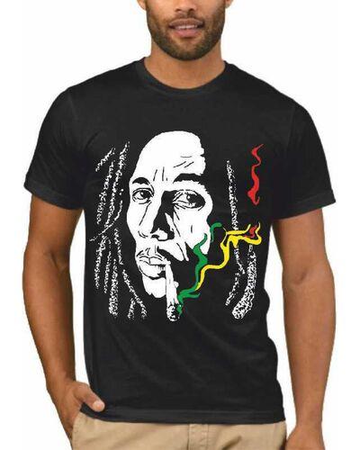 Μπλούζα με μεταξοτυπία σε μαύρο t-shirt Bob Marley Rasta Cannabis Smoke