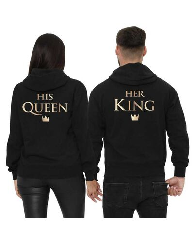 Μπλούζες φούτερ με κουκούλα Custom Her King & His Queen Couple Hoodies Matching Couple Sweatshirt Set