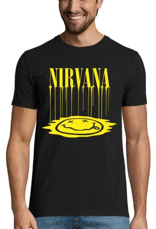 Μπλούζα με μεταξοτυπία Nirvana Smiley Face
