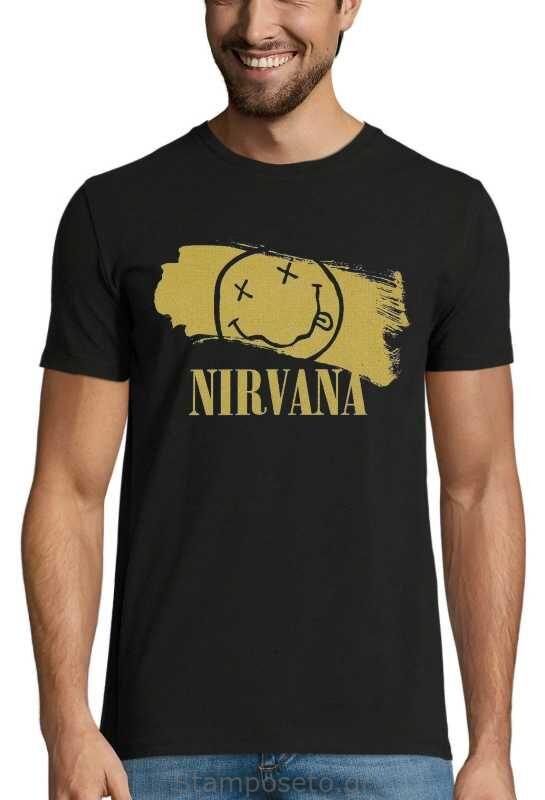 Μπλούζα με μεταξοτυπία Nirvana Gold