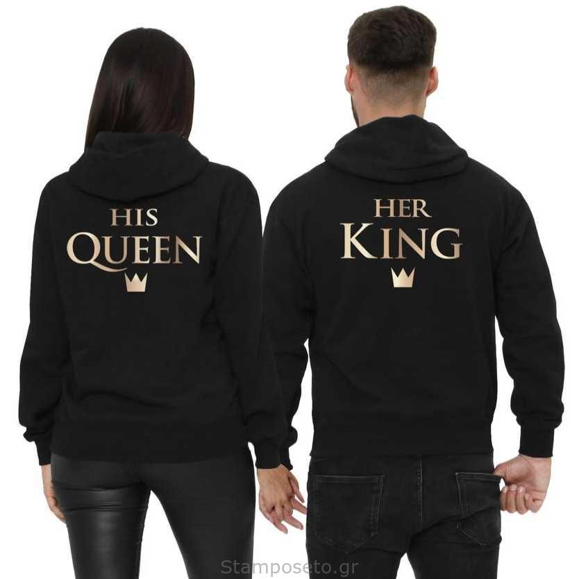 Μπλούζες φούτερ με κουκούλα Custom Her King & His Queen Couple Hoodies Matching Couple Sweatshirt Set