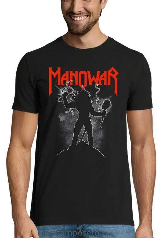 Μπλούζα με μεταξοτυπία Manowar Warriors of the world