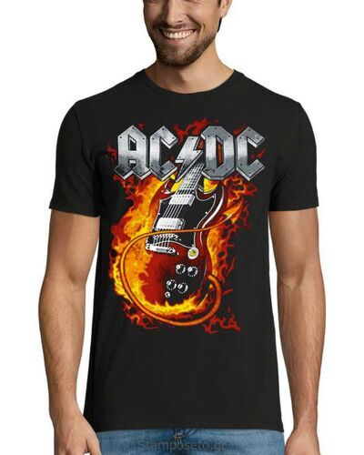 Μπλούζα με μεταξοτυπία AC/DC Men's Thunderstruck Guitar T-Shirt Black