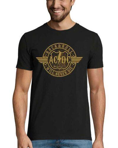 Μπλούζα με μεταξοτυπία AC/DC Gold Rock & Roll Will Never Die