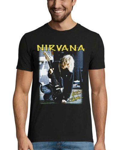 Μπλούζα με μεταξοτυπία Nirvana Kurt Cobain Guitar