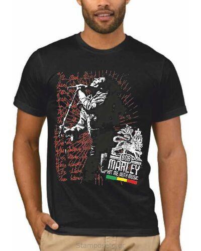 Μπλούζα με μεταξοτυπία Bob Marley Hit Me with Music