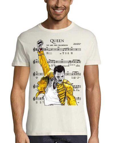 Μπλούζα με μεταξοτυπία We Are The Champions Queen Freddie Mercury